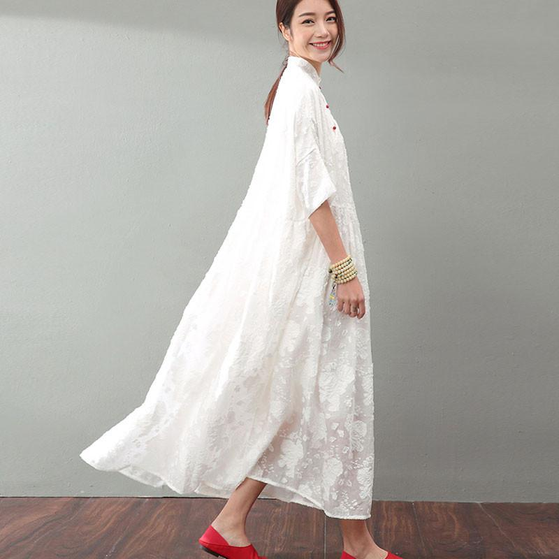 Summer Elegant Jacquard Lace Women Dress