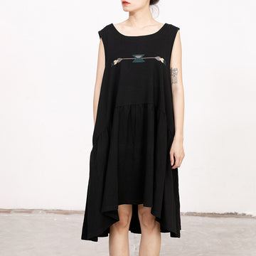 Summer Embroidery Sleeveless Loose Midi Dress