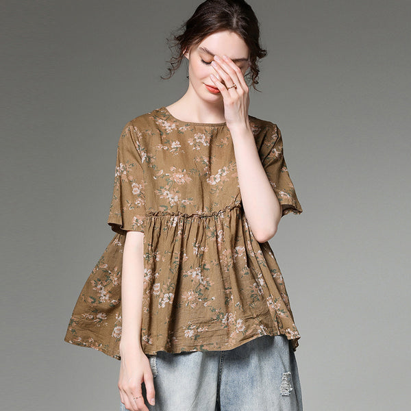 Summer Floral Print Cotton Linen Pleated Blouse