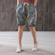 Summer Floral Printed Hole Loose Jeans