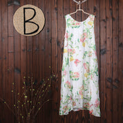 Summer Floral Printing Casual Sleeveless Loose Dress