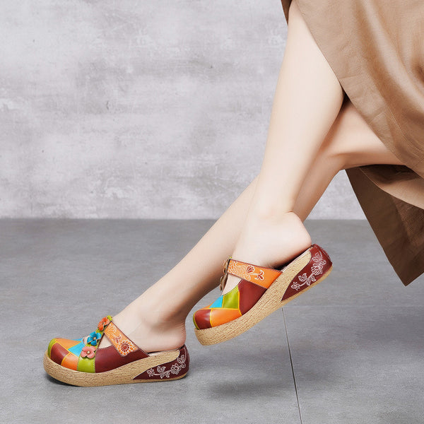 Summer Floral Vintage Wedge Leather Slippers