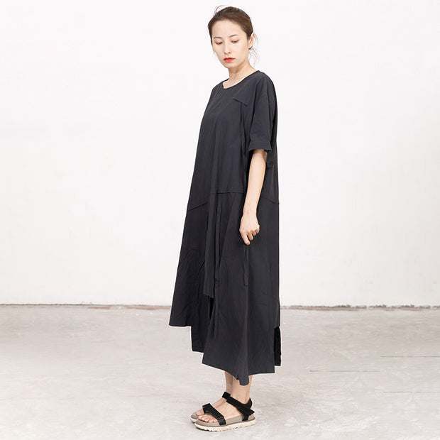 Summer High-low Hem Black Short Sleeve Lacing Dress