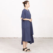 Summer High-low Hem Short Sleeve Lacing Dress
