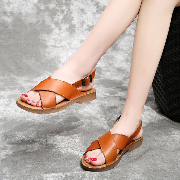 Summer Leather Buckle Soft Bottom Sandals