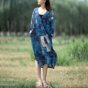 Summer Linen Print Dress V Neck Robe