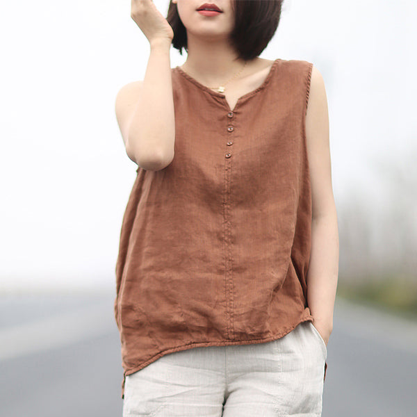 Summer Linen Sleeveless Hi-Low Hemline Top