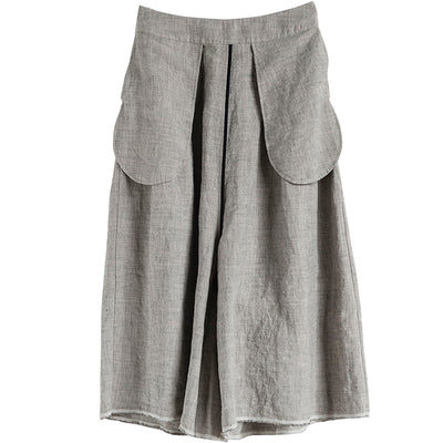 Summer Linen Solid Color Gray Wide Leg Pants