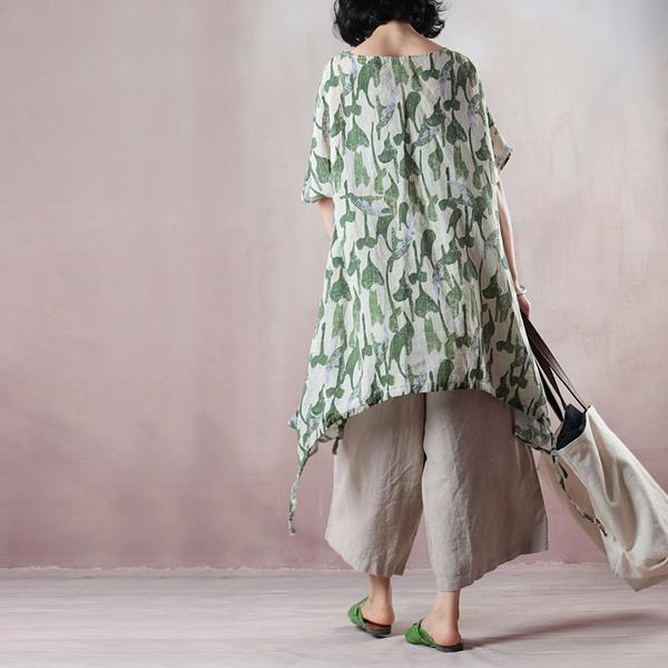 Summer Loose Green Leaves Irregular Hem Linen Blouse