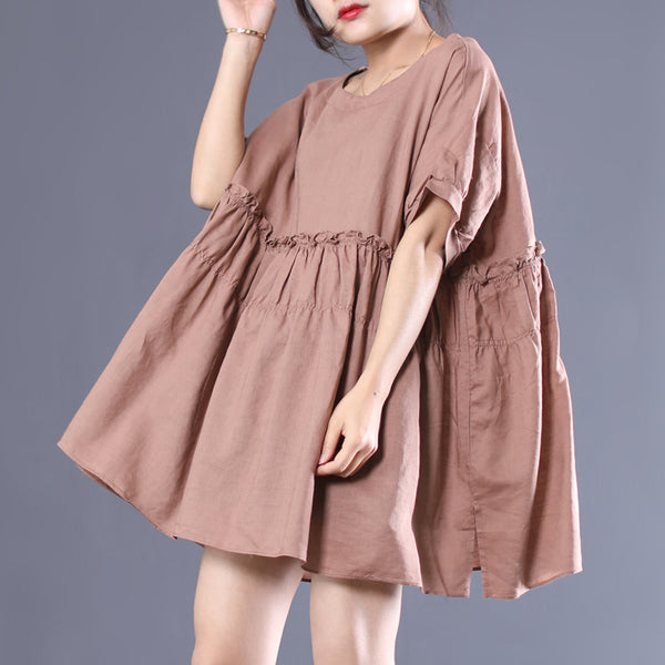 Summer New Solid Pleated Short Sleeve Dress