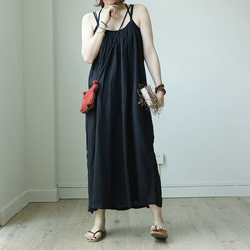 Summer Solid Color Loose Linen Slip Dress