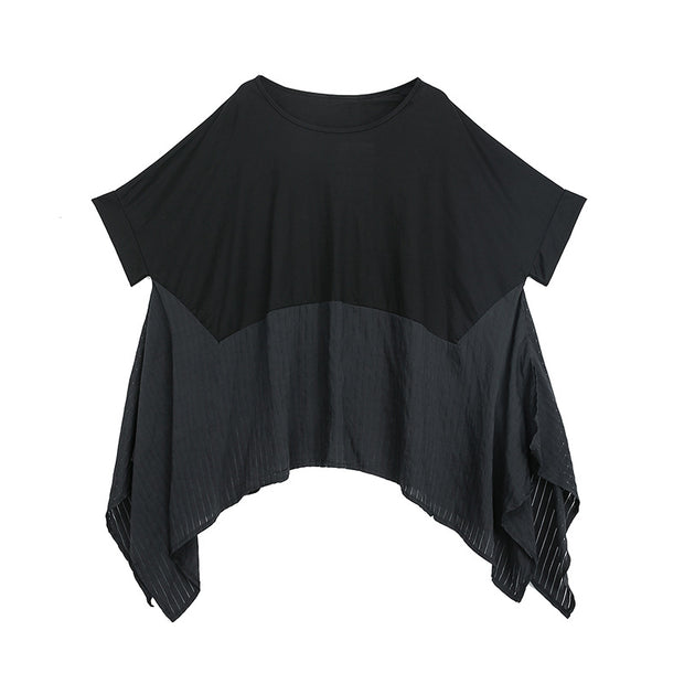 Summer Patchwork Batwing Sleeve Casual Blouse