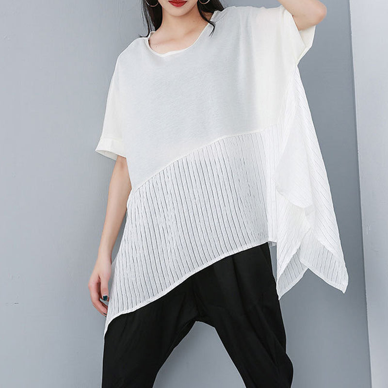 Plus Size - Summer Patchwork Casual Cotton Linen Blouse