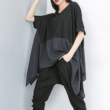 Plus Size - Summer Patchwork Casual Irregular Blouse