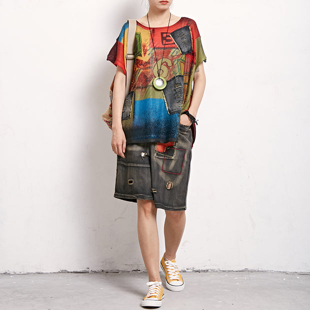 Summer Patchwork Frayed Personality Casual T-Shirt