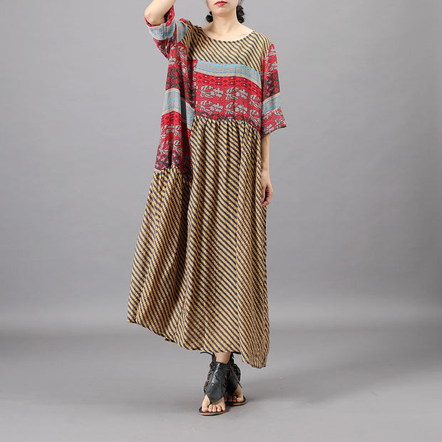 Summer Patchwork Irregular Printed Loose Dress