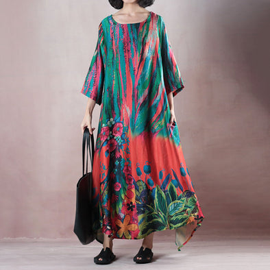 Summer Polyester Round Neck Loose Dress