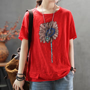 Summer Print Loose Casual Women T-shirt