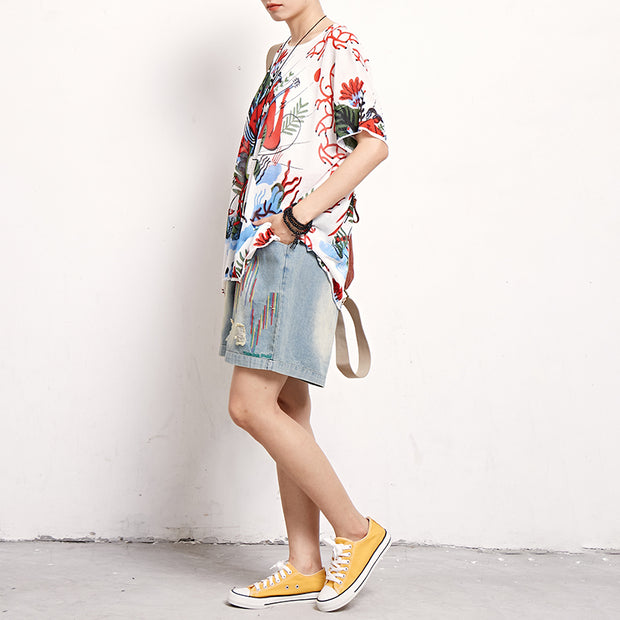 Summer Printed Casual Loose Pullover T-Shirt