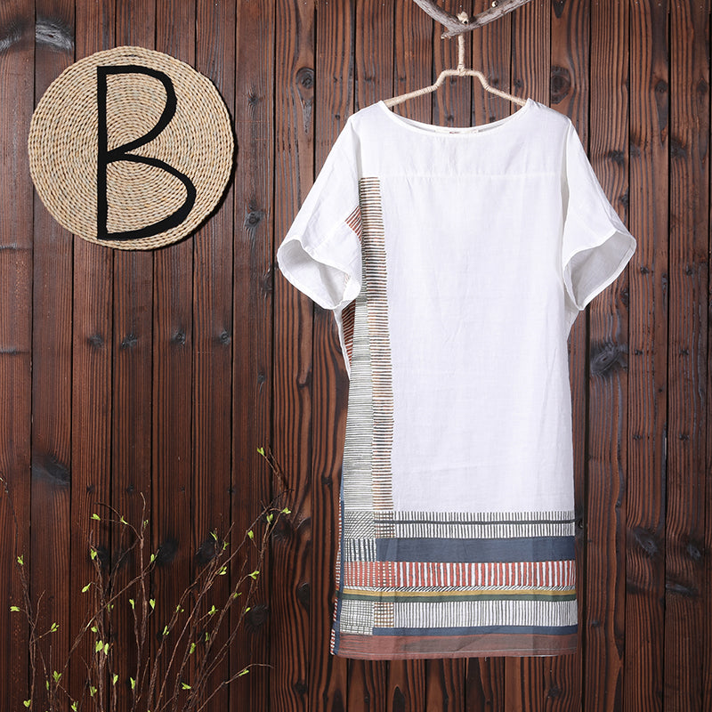 Summer Printing Loose Short Sleeve Women Dress