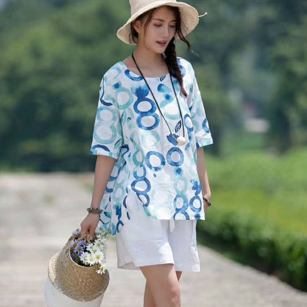 Summer Ramie Short Sleeve Casual Pullover Blouse