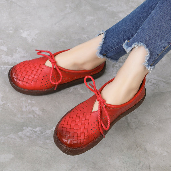 Summer Retro Lace-Up Handwork Woven Flat Shoes