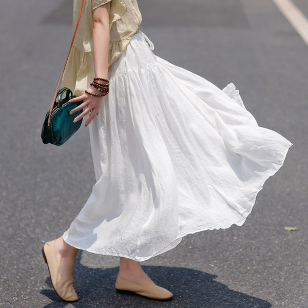 Summer Retro Literary Solid Color  A-Line Skirt