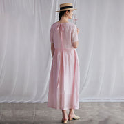 Summer Round Neck Back Lacing Pink Dress