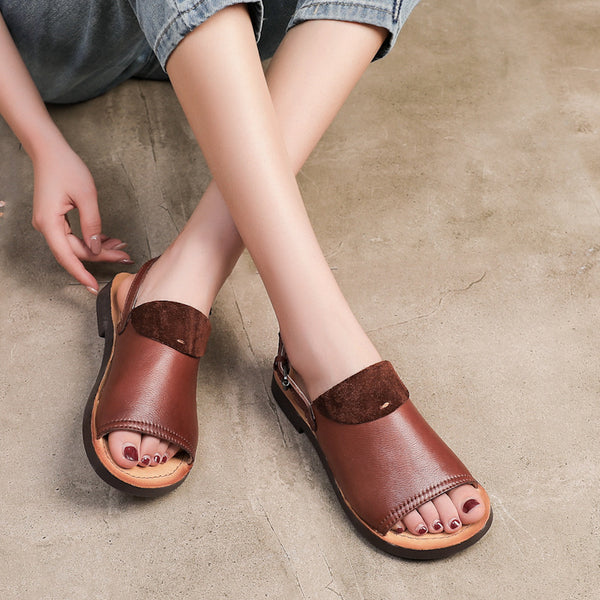Summer Round Toe Leather Flat Sandals