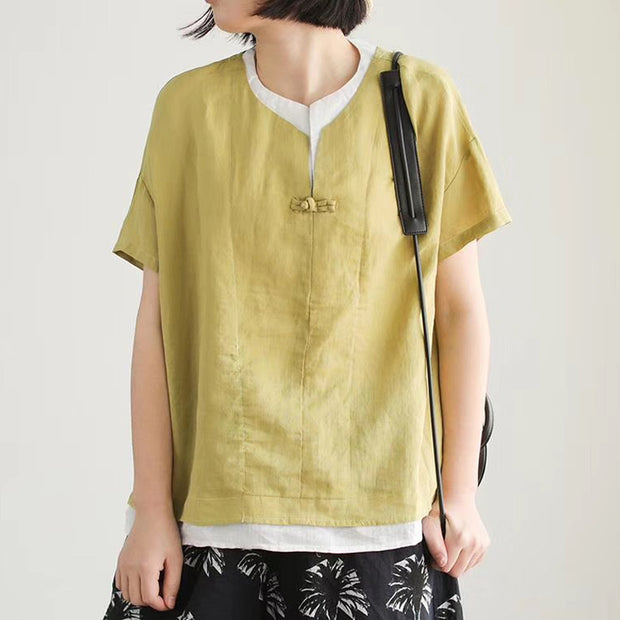Summer Short Sleeve Cotton Linen Blouse