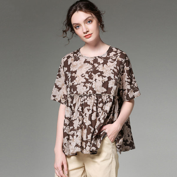 Summer Short Sleeve Pleated Hem Printed Blouse