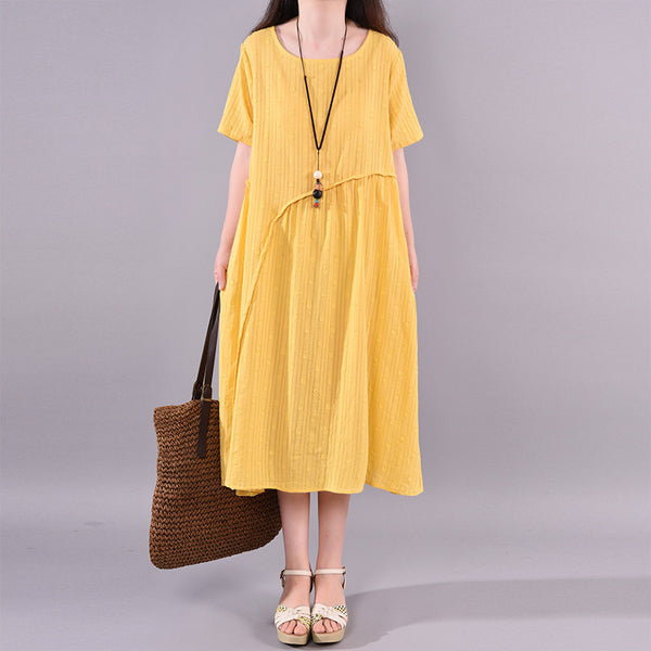 Summer Short Sleeve Retro Casual Pleated Dress