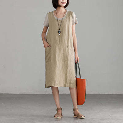 Summer Sleeveless Literature Khaki Tank Dress
