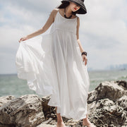 Summer Solid Color Double Layer Hem Dress