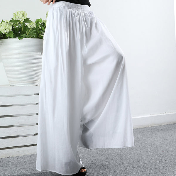 Summer Solid Color Gauzy Loose Straight Pants
