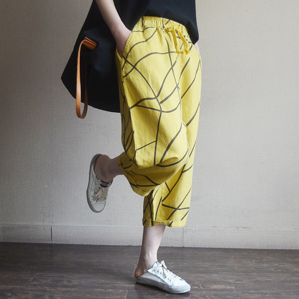 Summer Spring Line Cotton Casual Pants