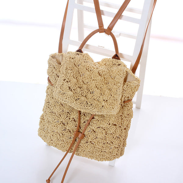Summer Stylish Beach Travel Straw Weave Backpack