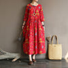 Summer Travel Cotton Linen Printed Dress