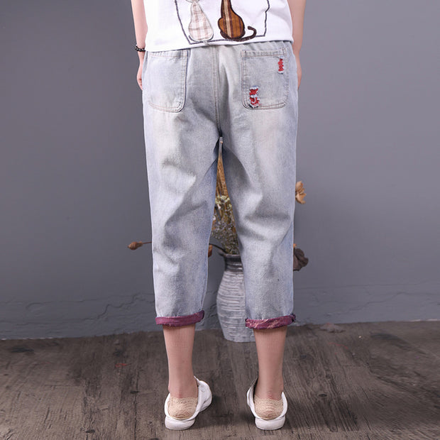Summer Vintage Causal Mid Calf-Length Harem Jeans