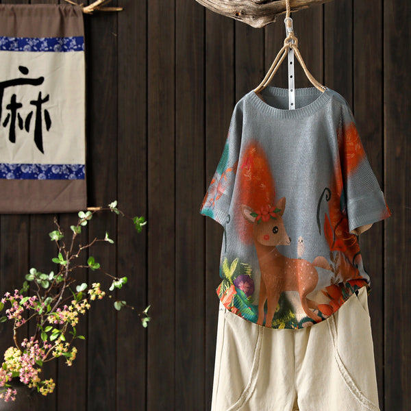 Summer Vintage Print Short Sleeve Blouse