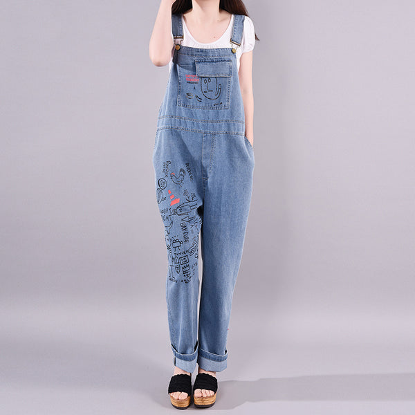Summer Women Casual Fashion Denim Bib Overalls
