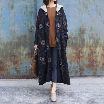 Sunflower Printed Retro Loose Hooded Coat