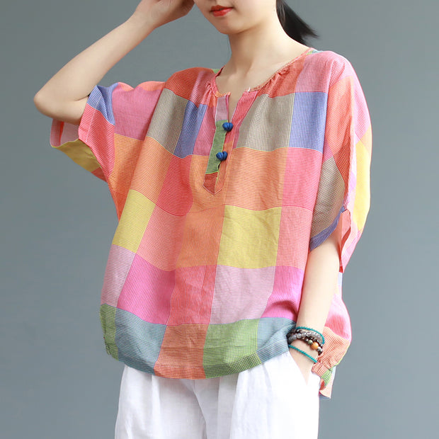 Sweet Colored Plaid Casual Linen T-Shirt
