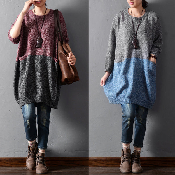 Solid color stitching sweaters - Tkdress  - 1