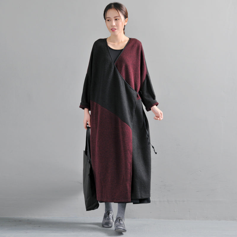 V Neck Long Sleeve Women Winter Lacing Coat