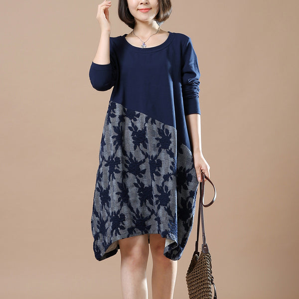 Autumn Large Size Casual Long Sleeve Printing Stitching Cotton Linen Dresses