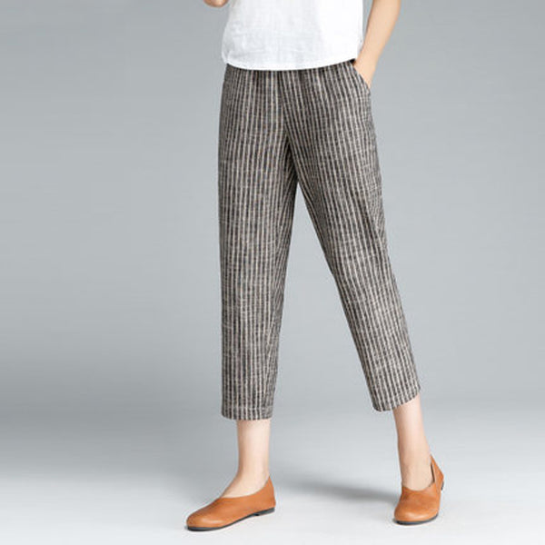 Literature Women Cotton Linen Gray Coffee Stripe Pants - Buykud