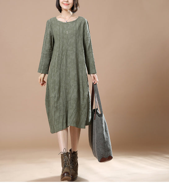 Green Autumn Big Large Long Sleeve Casual Round Neck Dress
