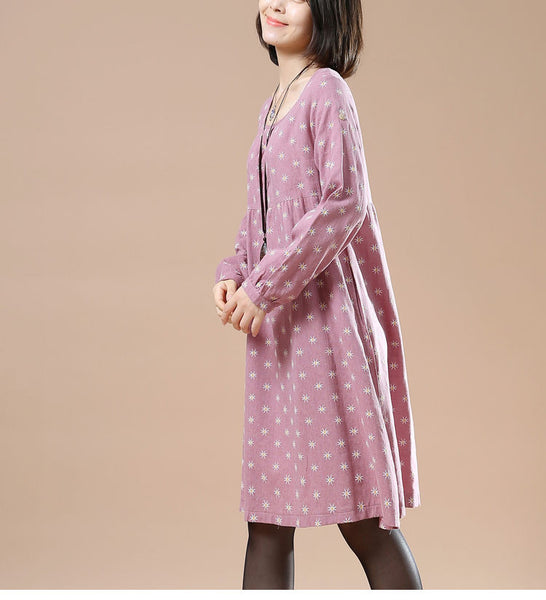 Women's Autumn Large Size Round Neck Long Sleeved A Line Print Casual Pink Dress