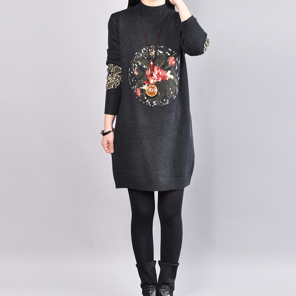 Mock Turtle Neck Long Sleeve Casual Women Knitted Sweater Dress